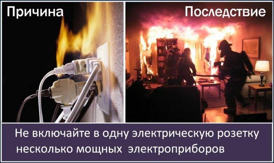 Правила пожарной безопасности при использовании электроприборов!